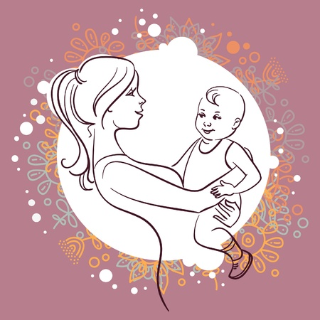 life line: Mother and baby Illustration