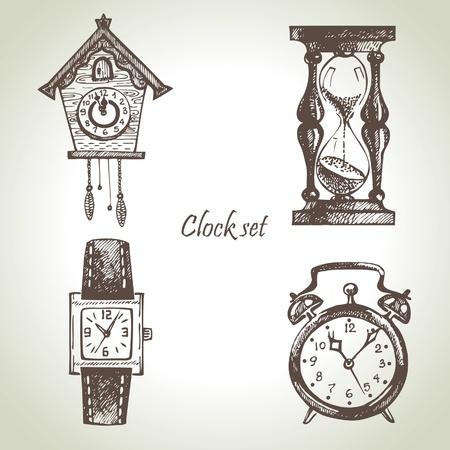 reloj cucu: Dibujado a mano set de relojes y relojes de pulsera