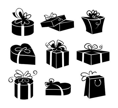 empacar: Conjunto de cajas de regalo iconos, negros y blancos ilustraciones Vectores