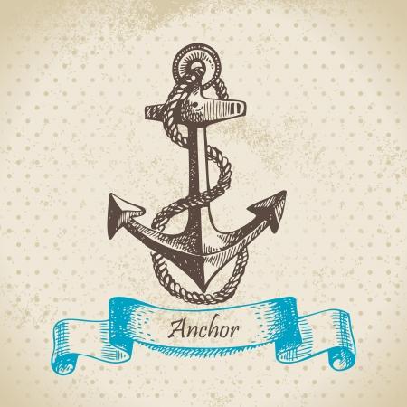 ancla: Anchor. Dibujado a mano ilustraci�n Vectores