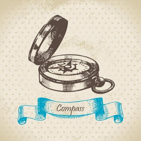 Mariner's compass. Hand drawn illustration Stock Vector - 16201908