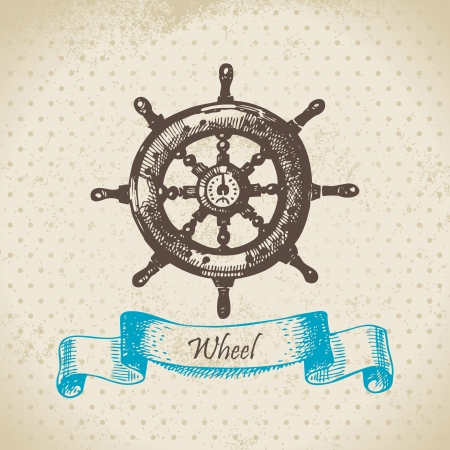 navigating: Ships wheel. Hand drawn illustration