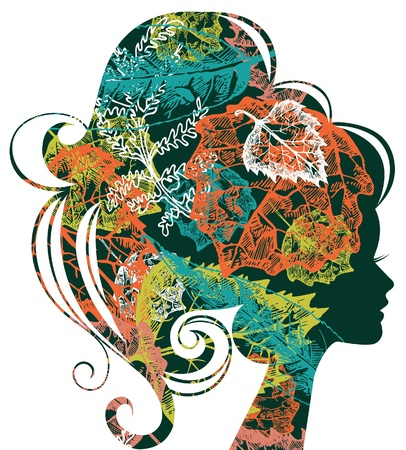 Beautiful woman silhouette with a autumn leafs Vector