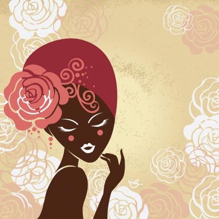 creative beauty: Retro beautiful woman silhouette Illustration