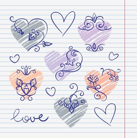 sketchbook: Hand-drawn love doodles in sketchbook
