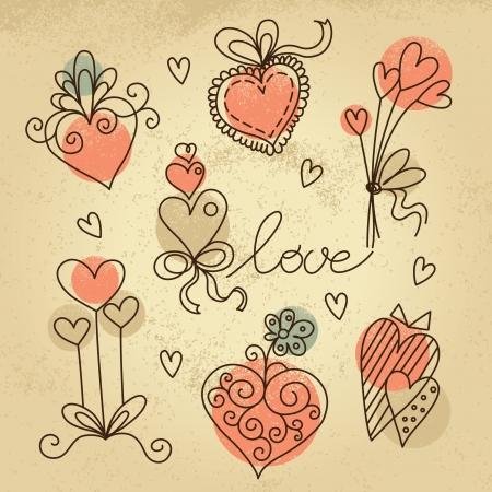 doodled: Set of sketch hearts