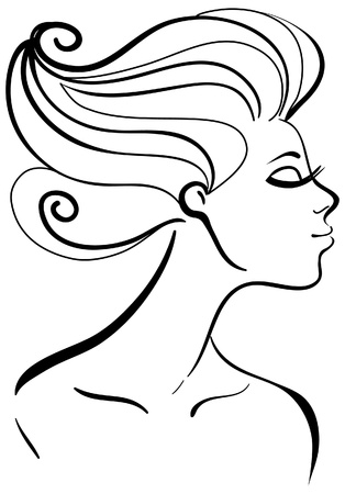 Beautiful girl silhouette Stock Vector - 16200942