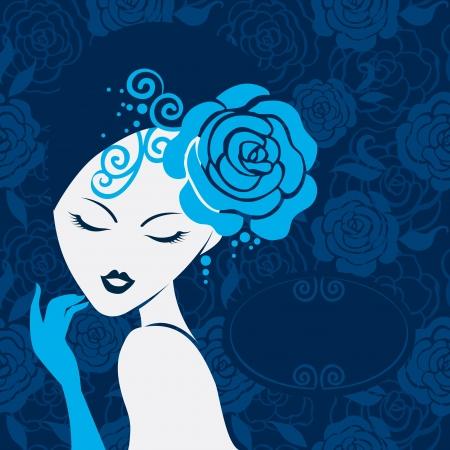 레트로 아름다운 여성의 실루엣