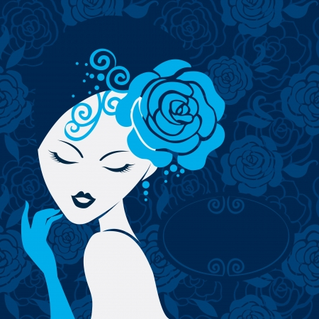 vintage rose: Retro beautiful woman silhouette Illustration