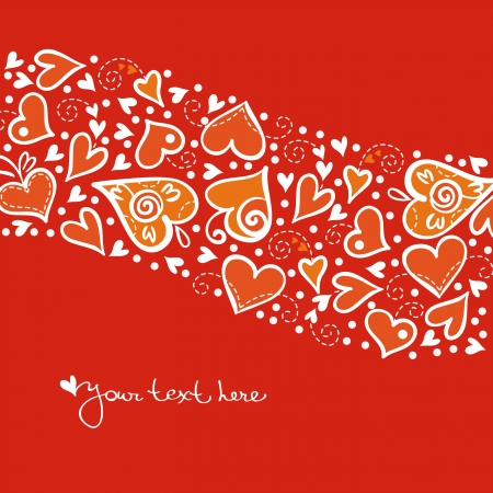 Love background with abstract hearts. Valentine card Vector