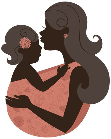 mother holding baby: Beautiful mother silhouette with baby in a sling