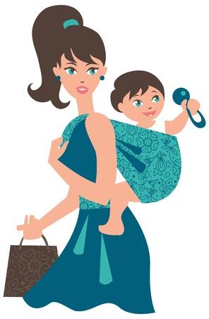 Actieve moeder met baby in een draagdoek Vector Illustratie