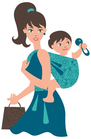 kid shopping: Active mother with baby in a sling