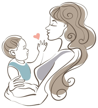 motherhood': Mother and baby Illustration