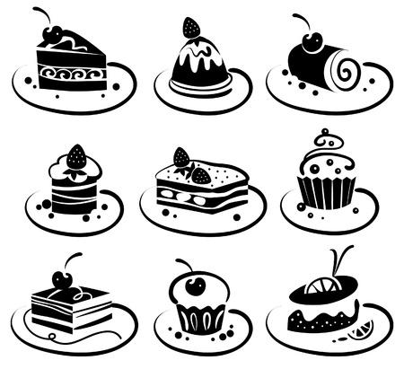 Conjunto de tortas Ilustración de vector