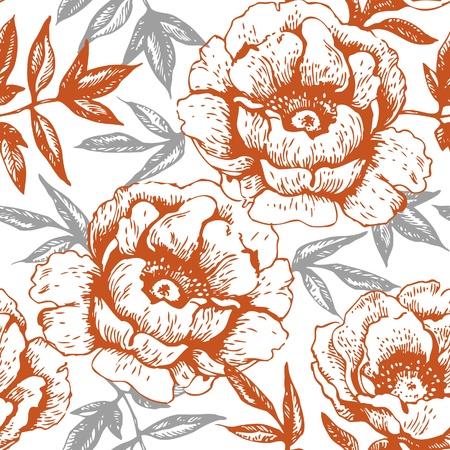floral arrangement: Seamless floral pattern with roses