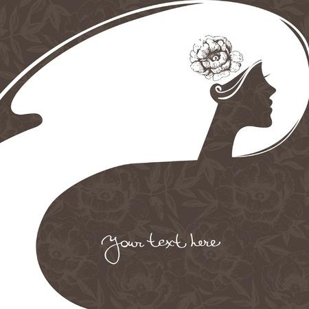 meisje silhouet: Achtergrond met mooi meisje silhouet Stock Illustratie