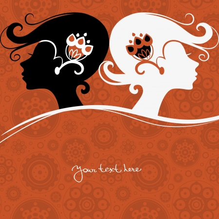 hair beauty: Background with girls silhouette Illustration