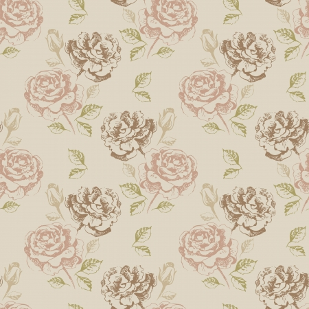 Vintage seamless floral pattern with roses  Vector