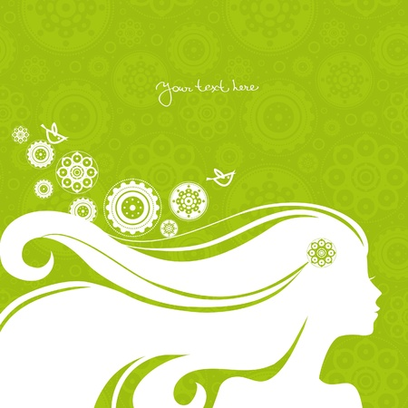 woman back of head: Background with beautiful girl silhouette