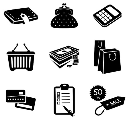 Shopping icons set Stock Vector - 16200836