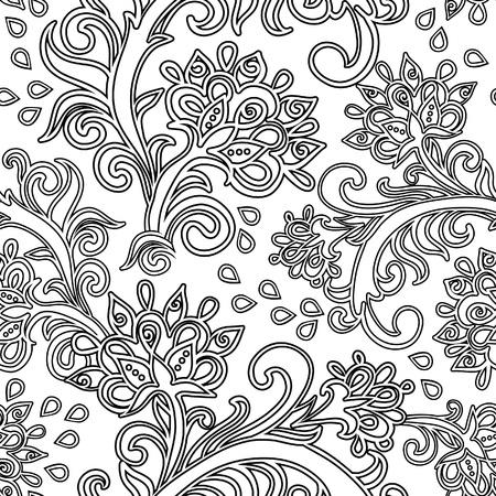 식물상: 꽃과 원활한 패턴 일러스트