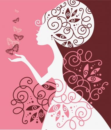 abito elegante: Bella ragazza con farfalla