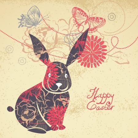 silhouette lapin: Arrière-plan avec Lapin de Pâques