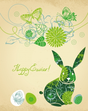 butterfly rabbit: Background with Easter Rabbit