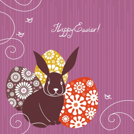 wild rabbit: Background with Easter rabbit and eggs