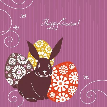 coniglio di pasqua: Sfondo con coniglio di Pasqua e le uova