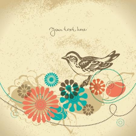 pajaro  dibujo: Fondo floral abstracto con pájaro