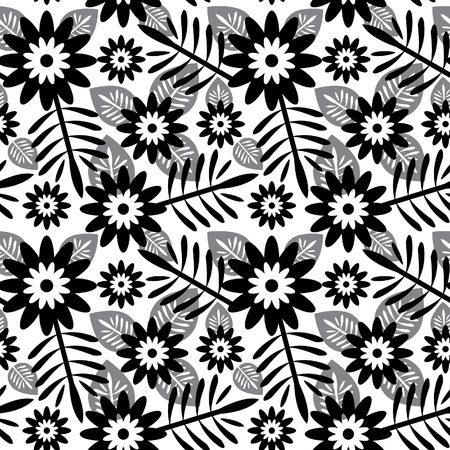 monocrom�tico: Teste padr�o floral abstrato