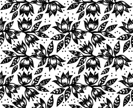 black and white leaf: Floral seamless pattern