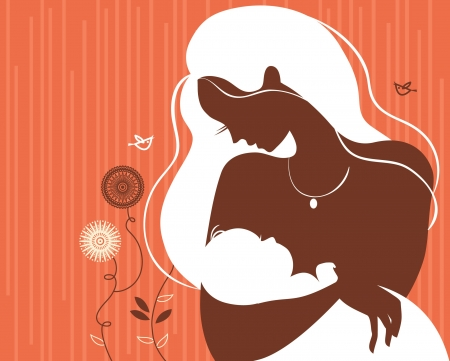 mom baby: Beautiful mother silhouette with baby