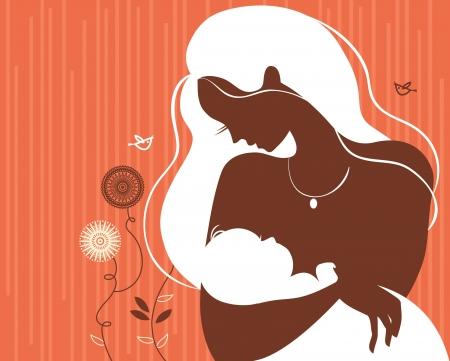 madre y bebe: Silueta hermosa madre con el bebé