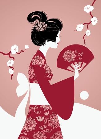 geisha kimono: Japanese girl silhouette