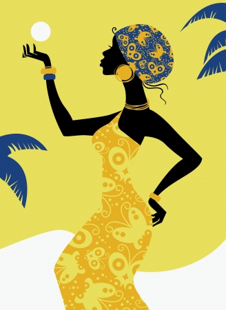 afro caribbean ethnicity: African girl silhouette Illustration