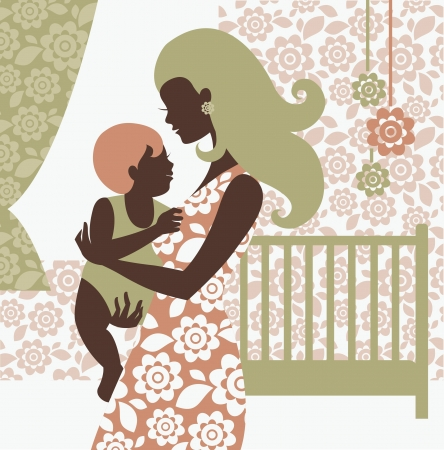 babysitter: Beautiful mother silhouette with baby in childrens room Illustration