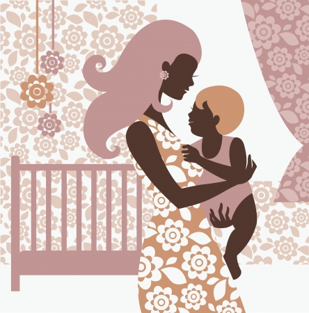 Beautiful mother silhouette with baby in children's room Stock Vector - 16201297