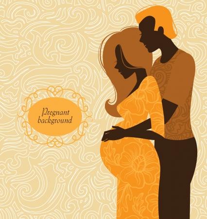 homme enceinte: Silhouette d'un couple. Contexte de la femme enceinte et son mari Illustration