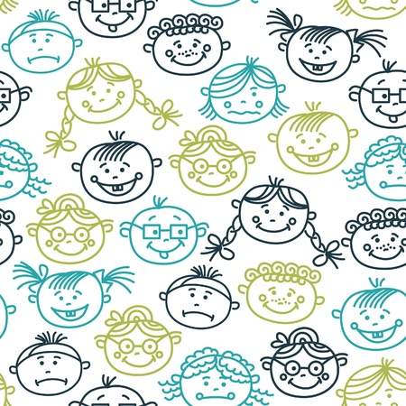 Seamless pattern of baby cartoon faces Stock Vector - 16201595