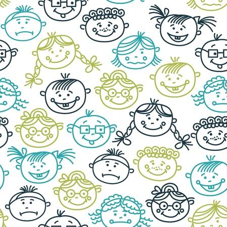 sad little girl: Seamless pattern of baby cartoon faces Illustration