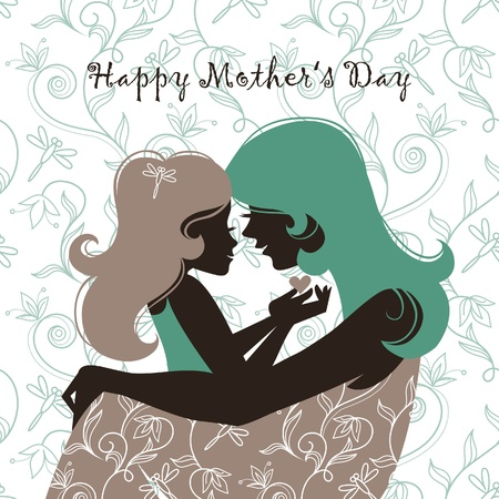 mother: Card of Happy Mother's Day. Beautiful mother silhouette with her daughter Illustration