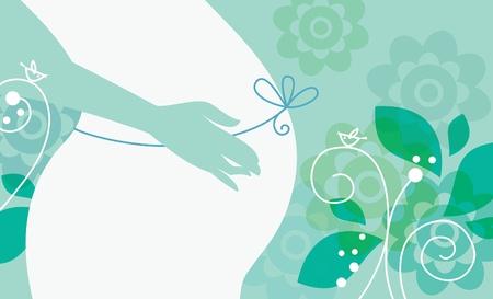 buikje: Silhouet van zwangere vrouw in de lente