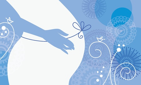 pregnant mom: Silhouette of pregnant woman in winter Illustration