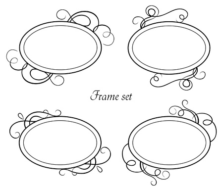 an oval: Conjunto de cuadros de época Vectores