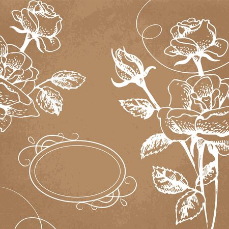 hand drawn rose: Floral background with roses and frame