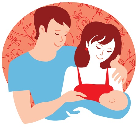 Family  Yung parents with newborn baby boy Stock Vector - 16202264