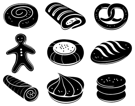 bread rolls: Bakery icon set  Illustration